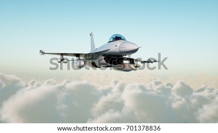 Jet, fighter flying over clouds . War and weapon concept. 3d rendering.