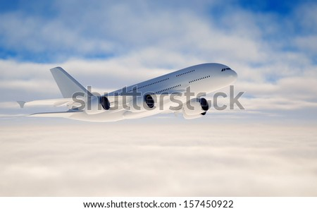 Jet flying over clouds
