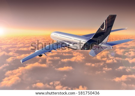 Jet flying over cloudscape at sunset High detailed computer generated image - stock photo