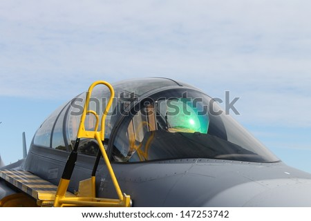 jet plane cockpit - stock photo