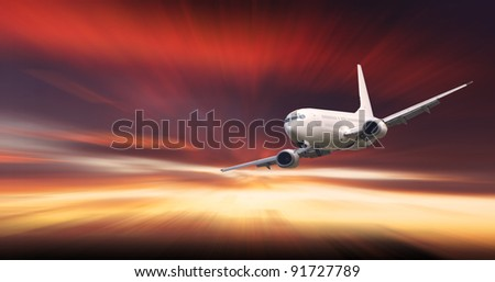 Jet plane flying at night