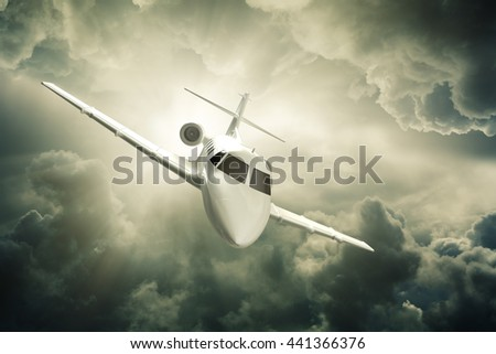 Jet plane flying in the air 3d rendering. - stock photo