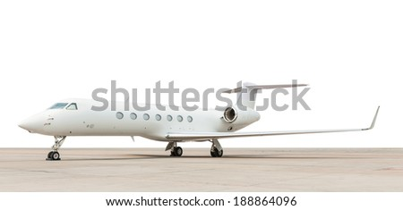 jet plane parking on white background - stock photo