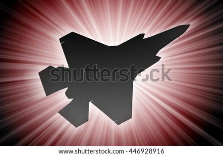 Jet plane silhouette, modern fighter in the sky (starburst) - stock photo