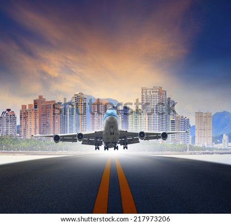 jet plane take off from urban airport runways use for air transportation and business cargo logistic industry - stock photo