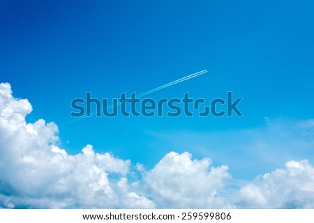 Jet steam out of clouds - stock photo