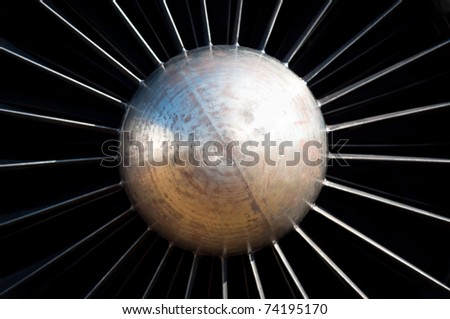 Jet turbine engine centered view - stock photo