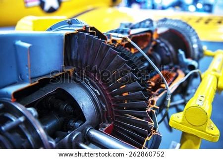 Jet Turbine Engine Profile. Military Aviation Technologies. - stock photo