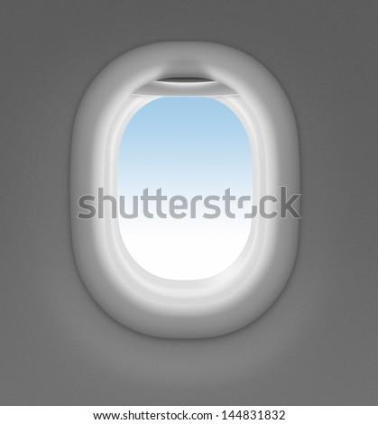 jet window with sky behind - stock photo