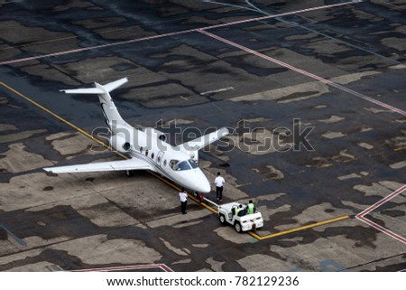 Jetplane at wet apron