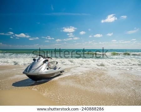 Jetski on the beach in Chaweng Koh Samui - stock photo