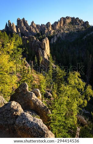 Jetting Rock Formation Valley at Black Hills - stock photo