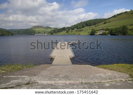 jetty and slipway into lake at ladybower, peak district - stock photo