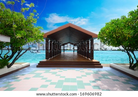 Jetty at Male island in Maldives - stock photo