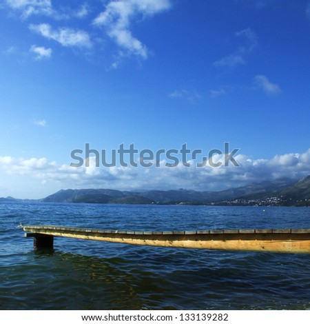 Jetty by the sea in Southern Europe