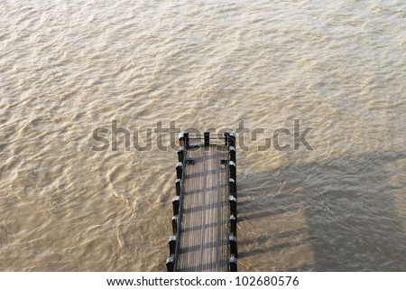 Jetty for small boats on the River Thames at the South Bank. London. England
