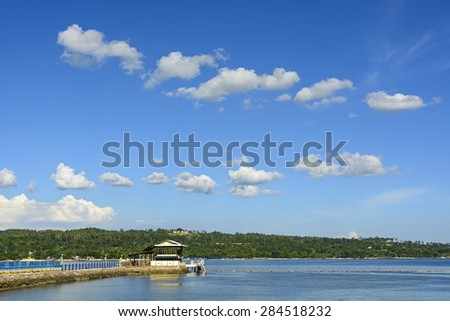 Jetty in an island beach resort, South of the Philippines - stock photo