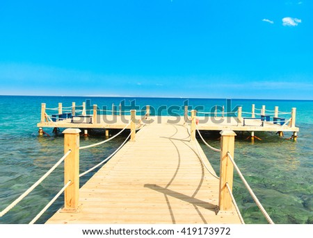 Jetty into the Blue  - stock photo