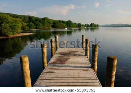 Jetty on Coniston Water in summer, English Lake District - stock photo