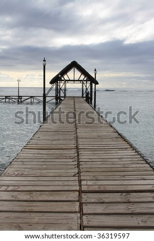 Jetty on the island of Mauritius - stock photo