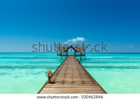 jetty over the indian ocean - stock photo