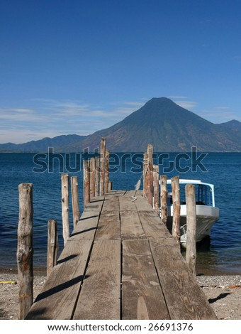 Jetty pier on the Lake Atitla, Guatemala - stock photo