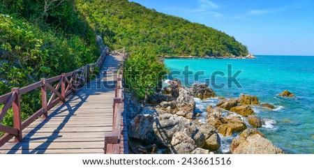 Jetty to a tropical beach on island, at koh lan island Pattaya city Chonburi Thailand.  - stock photo