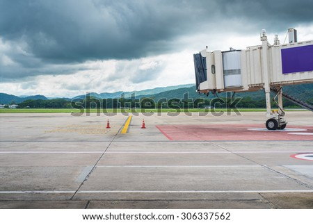 Jetway waiting for a plane to arrive on airport.airport terminal boarding gate. - stock photo