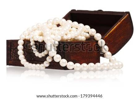 Jewel box with pearl necklaces isolated on white background - stock photo