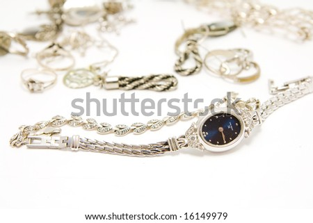 jewelery and wristwatch isolated - stock photo