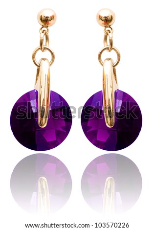 Jewellery and fashion concept with earrings - stock photo