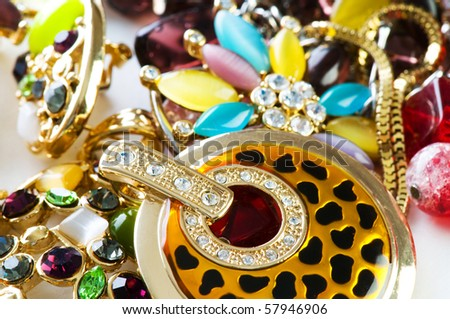 Jewellery arranged at the background