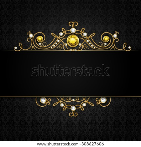 Jewellery black background with unique classic vintage golden diamond gems tiara  illustration - stock photo