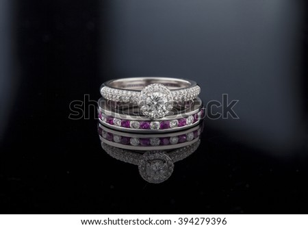 Jewellery diamond ring on a black background