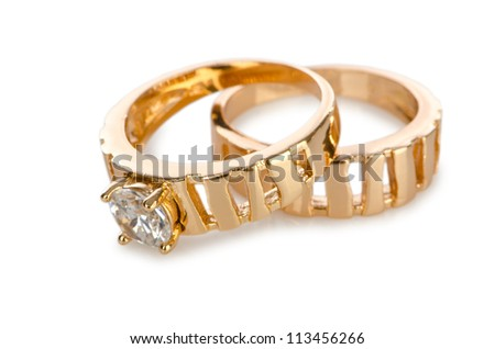 Jewellery ring isolated on white - stock photo