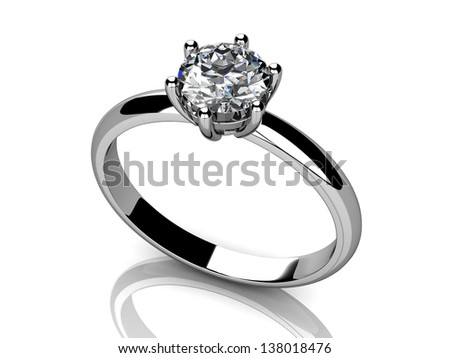 Jewellery ring  on white background - stock photo