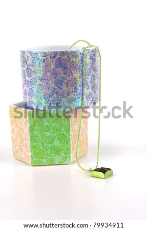 jewelries and present boxes over white background