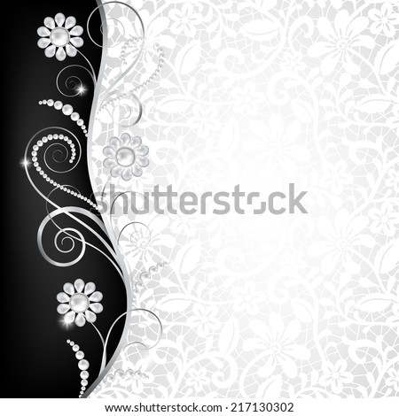 Jewelry border on white lace background. Invitation card - stock photo