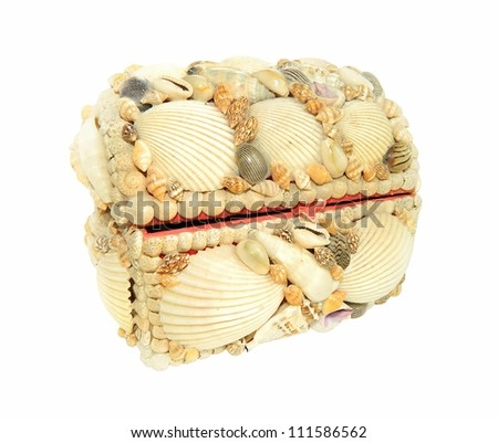 Jewelry box decorated with seashells isolated on white background - stock photo