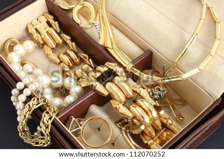 jewelry box with jewelry - stock photo