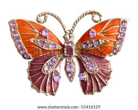 jewelry butterfly isolated on white background - stock photo