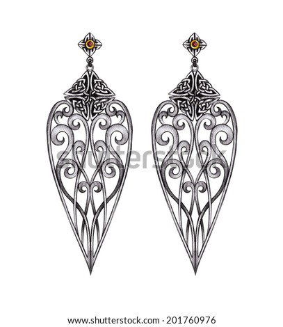 Jewelry celtic mix vintage earring Hand drawing and painting on paper. - stock photo