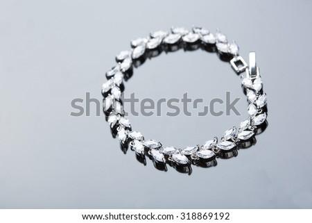Jewelry diamond bracelet - stock photo