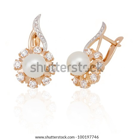Jewelry earrings with pearl and diamonds on white background. isolated - stock photo