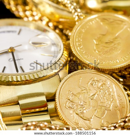 Jewelry, gold, necklaces, rings, bracelets, watch, wealth  - stock photo