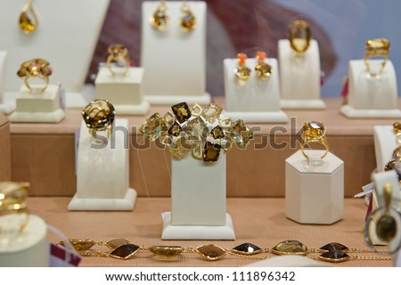 jewelry in a shop window - stock photo