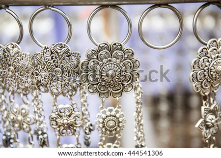 Jewelry made of silver - stock photo
