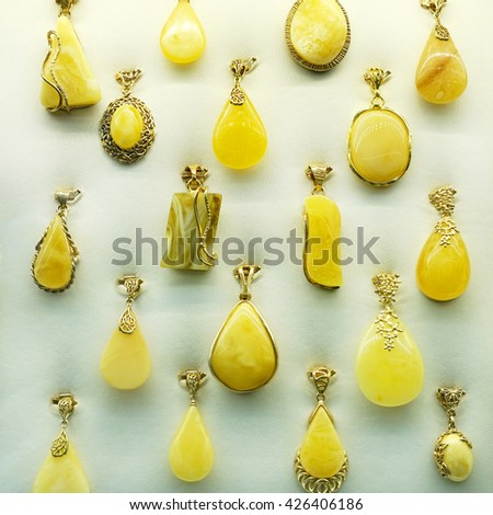 Jewelry made of stone. Amber - stock photo