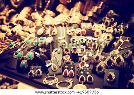 Jewelry market, toned image - stock photo