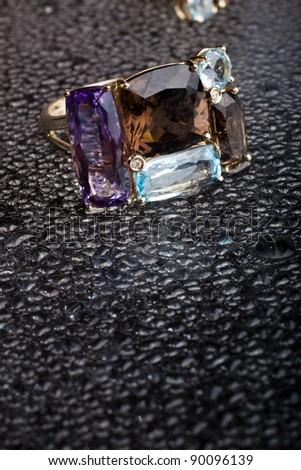 jewelry on black background - stock photo